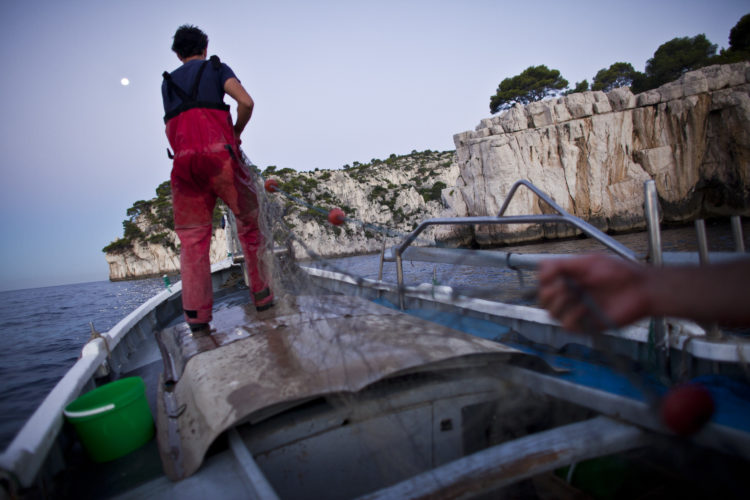 Hélène David | L'esprit des calanques | 2008-2011 | Août. 5h30. Guillaume Letestu et Laurent Giannettini, pêcheurs