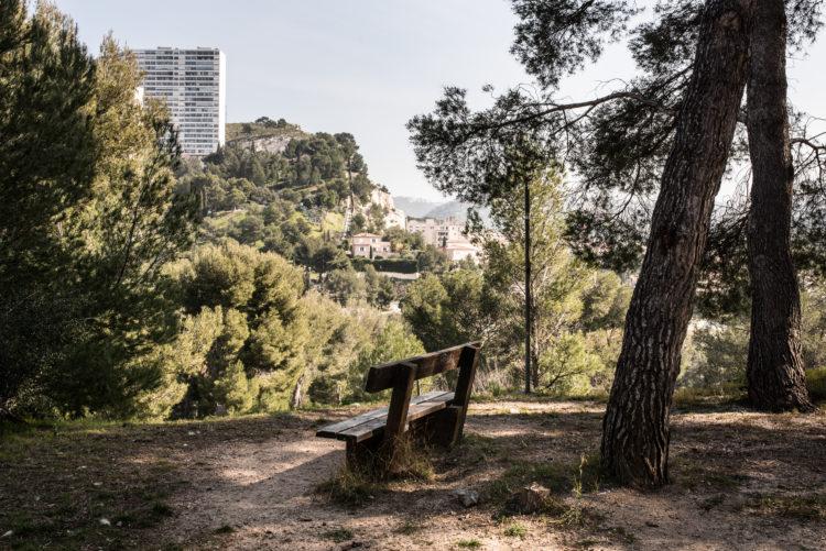 Anne Loubet | Marseille les collines | 2006-2020 | AU PARC DE LA COLLINE ST JOSEPH AU REDON AVEC VUE SUR LES IMMEUBLES DE LA PANOUSE, MARSEILLE 9
