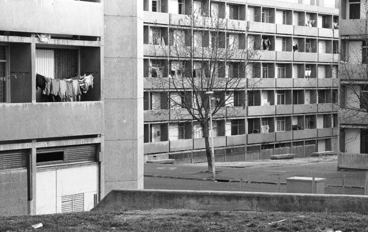 Fabrice Ney | ZUP n°1 | 1980-1983 | Extrait de ZUP n°1 - Marseille  - 1981-1983.  Angle de façade et de Balcon, présence végétale arbre.façade arrière du E en fond, trois bancs en béton.