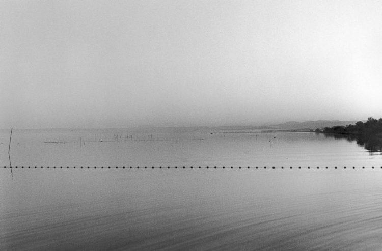 Franck Pourcel | La petite mer des oubliés – Gestes du travail | 1996-2006 | Gestes du travail | Photographie en N/B d'un étang avec un filet de pêche