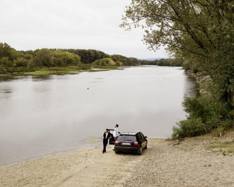 Rhodanie, ile de la Barthelasse au nord d'Avignon, parc des Libertés. Bras mort du fleuve à la suite des aménagements hydroélectriques